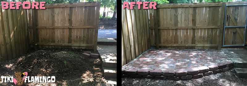 Before and After of a budget DIY courtyard patio made from recycled brick and pavers.