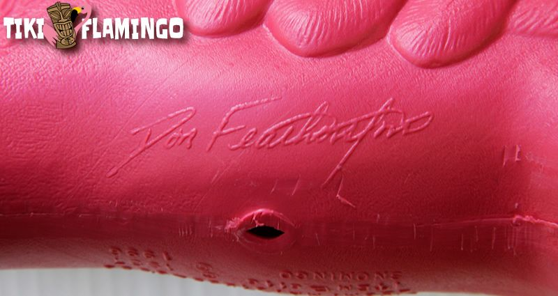 Don Featherstone's signature molded into the bottom of a Union Products plastic flamingo yard ornament.