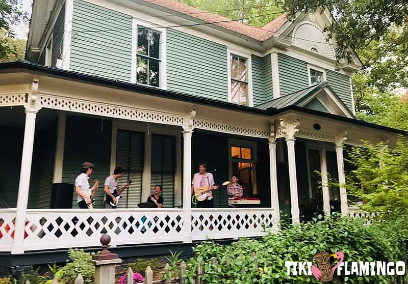 A Porchfest band warms up before a show.