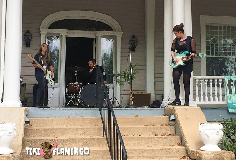 Monsoon plays the front porch of Flagpole Magazine at the 2019 Athens Porchfest.