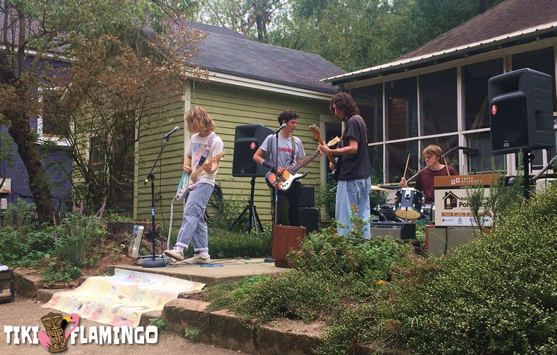 Nuclear Tourism playing a front yard at the 2019 Athens Porchfest.