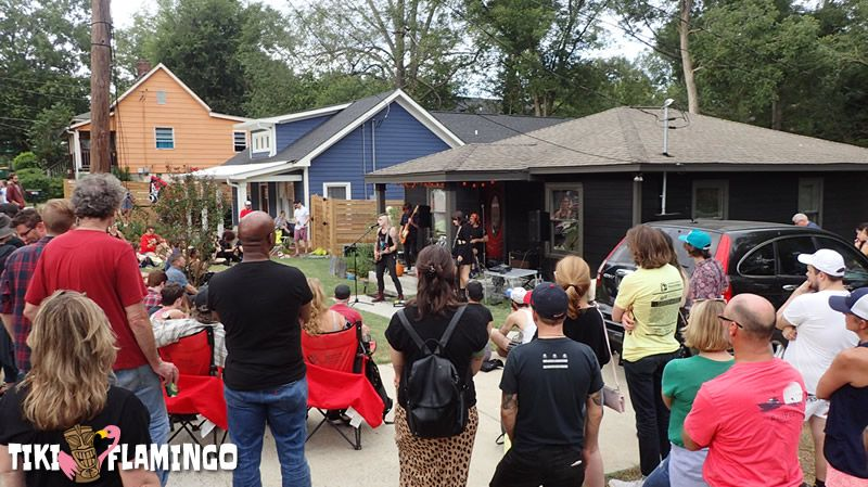 Vision Video plays to a large crowd at the 2019 Athens Porchfest.